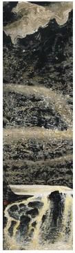 刘国松《世界屋脊》,1987年作,水墨设色纸本,147.5 x 42 cm.约5.6平尺,成交价:HKD713,000。
