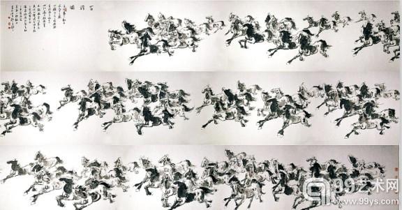 湖北襄阳画家杨明光《百骏图》200万成交 全长10.1米