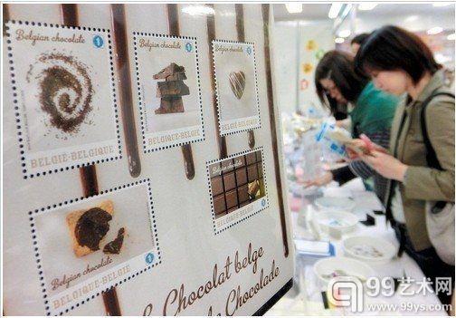 比利时代表团展出的巧克力味邮票