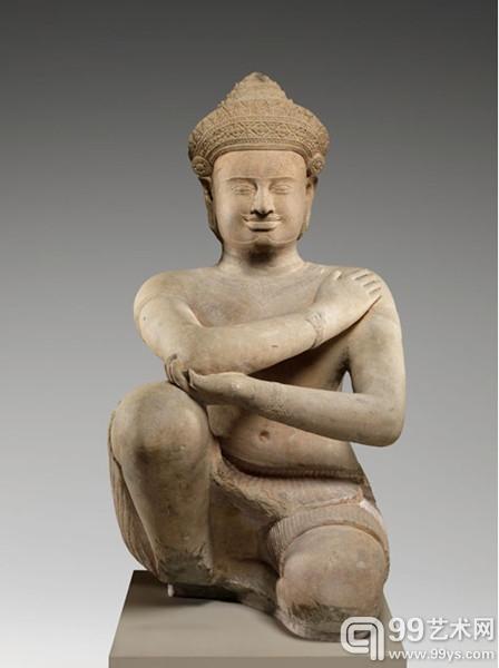 """""""跪拜的侍从""""(Kneeling Attendant),创作时间大约为10世纪,大都会博物馆的入藏号为1987.410和1992.390.1"""