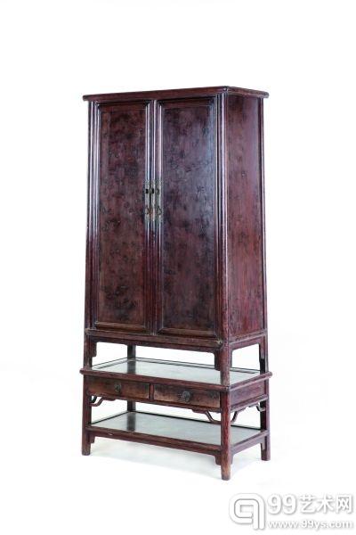 几座式瘿木圆角柜