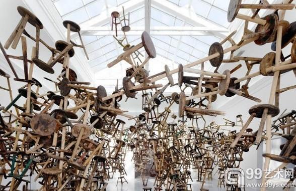 Ai Weiwei,Bang, 866 antique stools, 11 x 12 x 6.7 m, 2010-2013