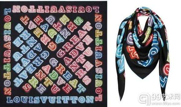 街头艺术家Eine(AKA Ben Eine)与Louis Vuitton合作款定制丝巾