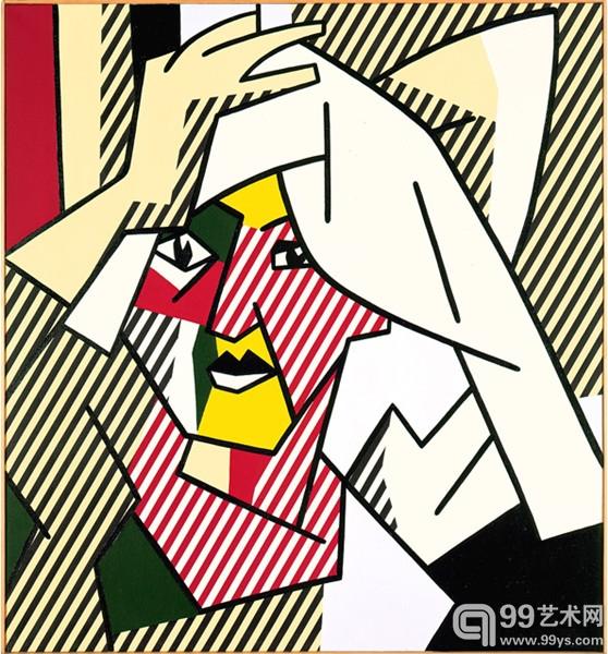 利希滕斯坦,《正在弄干头发的女子》(Woman Drying Her Hair,1980年)