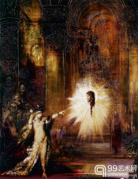 法国象征主义画家古斯塔夫·莫罗的《施洗约翰的头在显灵》