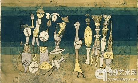 保罗·克利的1921年画作《戏剧》(Comedy)
