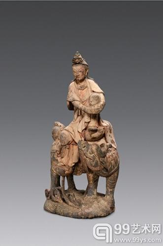 木雕彩绘自在观音坐像 H30cm 成交价:23万元人民币 北京古天一2013年春季拍卖.