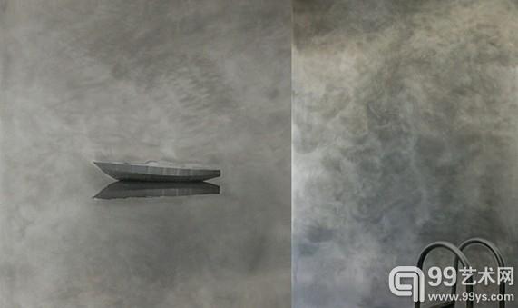 David,鬼船(左)(雾系列),铝板丝网印刷,100/200 cm,荷兰,2008 / David,游泳池(雾系列),铝板丝网印刷,200/300 cm,荷兰,2008