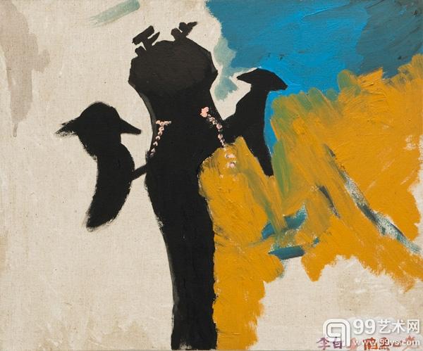 廖国核,(正义)李白身陷黑心党,2013,布面丙烯,50x60cm