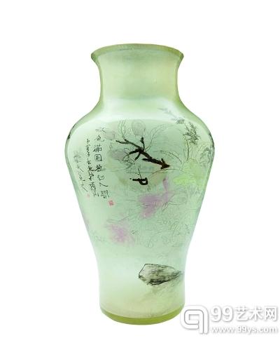 玻璃内画菊石花鸟纹花瓶