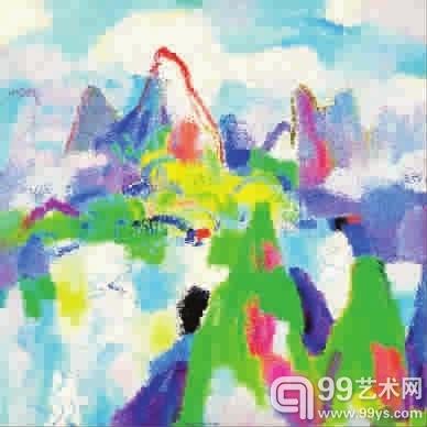 陈钧德山林云水图系列—日映岚光轻锁翠 油画 120x120cm