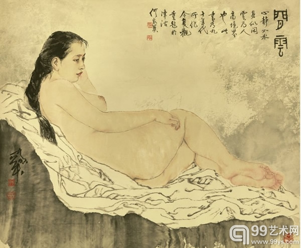 何家英(b.1957)闲云