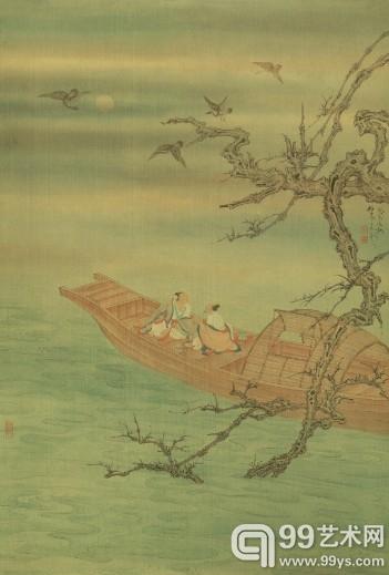 任重(b.1976)秋江品茗图