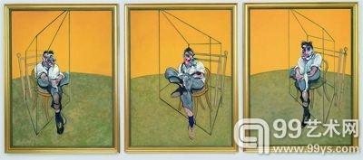 弗朗西斯·培根 《卢西恩·弗洛伊德肖像画习作》(三联画) 布面油画