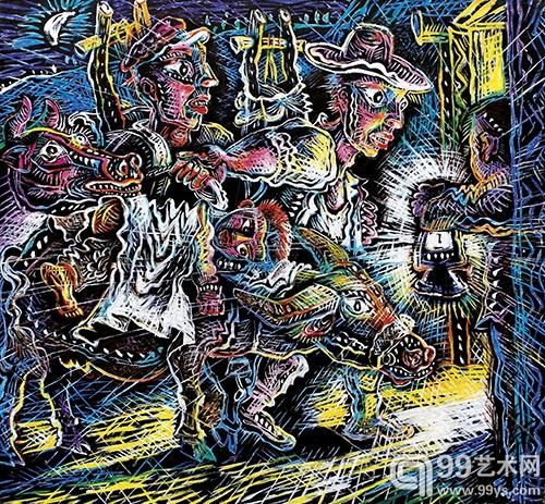 罗中立 晚归系列之五 油彩 画布185×200cm 2008年
