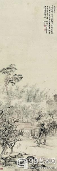 王翚  草堂话旧图  设色纸本    立轴    132×44cm