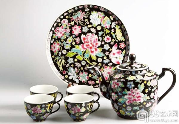 60—80年代 料地万花六头大茶具 稻房藏