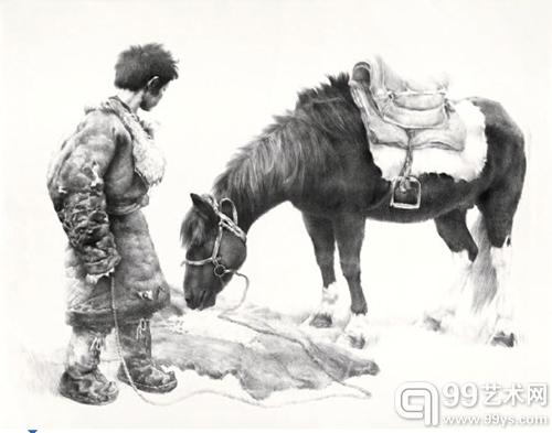 《安多名寺拉卜楞》(水性颜料、纸)1997 年9 月21 日 32×40.7cm(青海黄南藏区).