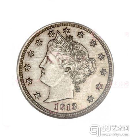 1913年铸造的自由女神头像精致镍币