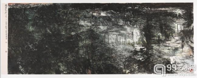 张志民《风雨孔府》  国画367cm x 144cm