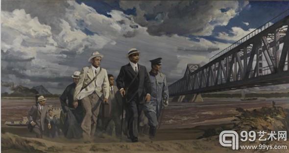 杨松林《孙中山视察黄河大桥》油画 210cm  x 400cm