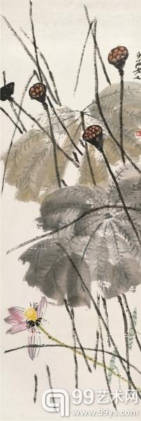 秋荷(国画)  137.5×47厘米 齐白石