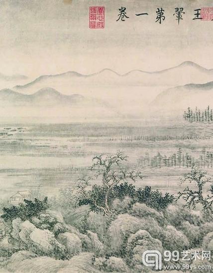 上海博物馆藏王翚《重江叠嶂图卷》(局部)