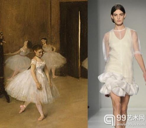 "Victoria Beckham 2014秋冬系列""偷师""Edgar Degas 1870年的作品《舞蹈课》 1870"