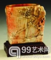 现代西门薄意派掌门人王炎铨刻老性寿山杜陵石雕雀梅笔筒闲学馆藏
