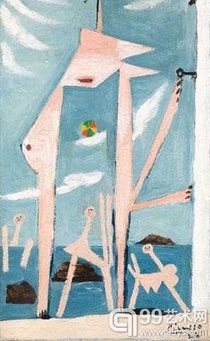 《Baigneuses au ballon》,毕加索,1928