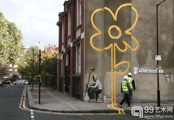 英国地下涂鸦艺术家班克斯的墙上态度