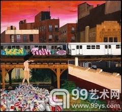 "Lady Pink, 《涂鸦之死》, 1982, 纤维板上丙烯, 19 x 22""."
