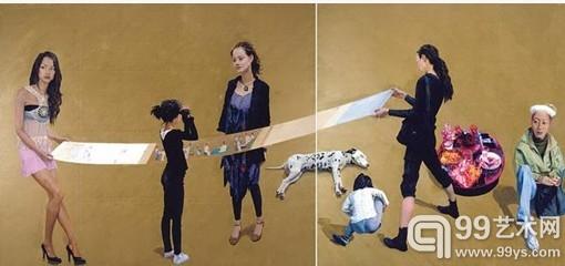 喻红2008年 《春恋图》(250×1200cm,布面丙烯)