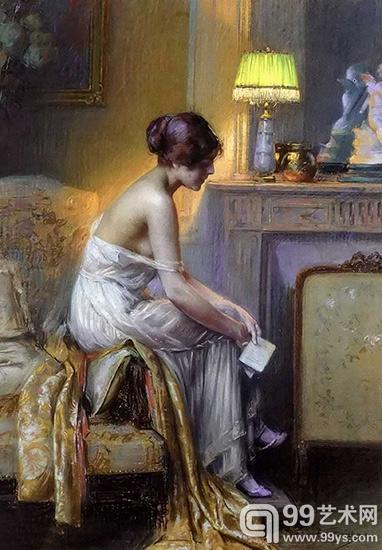 德尔菲恩恩霍拉斯人体油画欣赏:轻纱缭绕的丰满少女