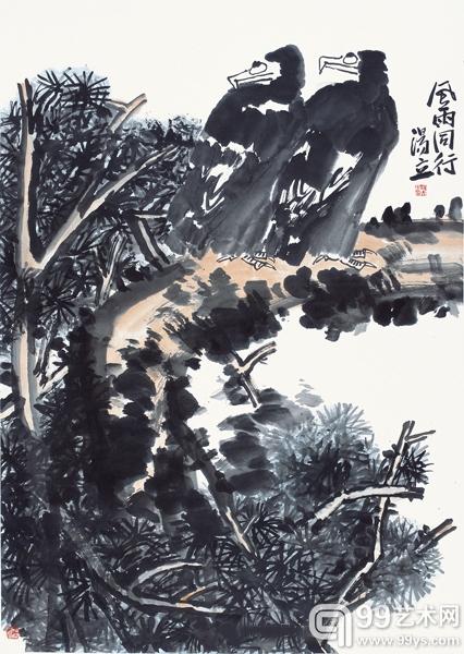 汤立风雨同行2006年145t78cm-北京保利 汤文选 汤立大写意花鸟画精