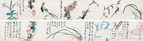 丁衍庸 1902-1978 《花卉卷》