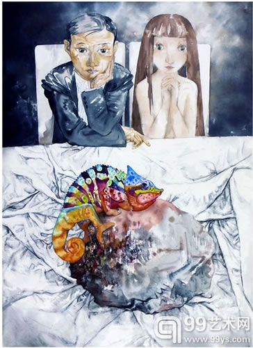 《灰色寓言·谜局》 党震 100×138cm 纸本设色(彩墨写意风景) 2010年
