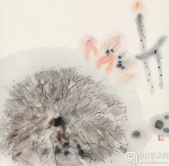 周思聪(1939-1996) 红荷图