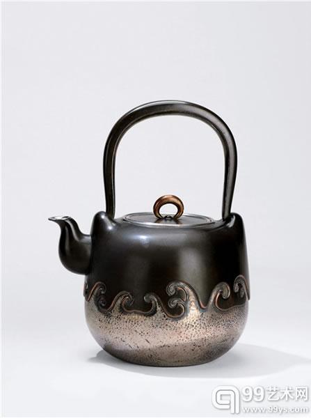 山田宗光造海波纹铜包银壶