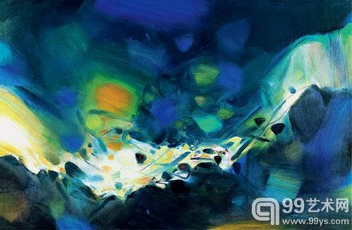 朱德群 晶晶流泉 油彩 画布130×195cm  2004