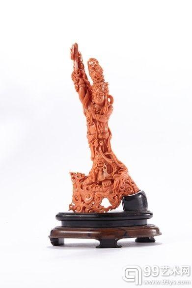 18世纪 红珊瑚火神站像