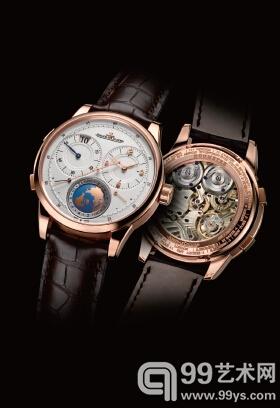 积家新推出的双翼系列寰宇旅行时间腕表,6 点位置与旅行时区同步的地球形显示装置是其一大亮点。