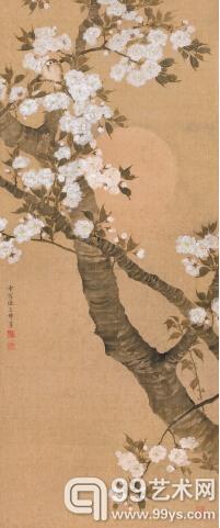 樱花小鸟   立轴   设色绢本