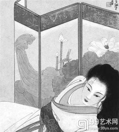 北京匡时2014春拍,张大千作品《荷屏仕女》以427万元成交。